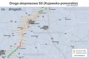 Mapa przebiegu drogi ekspresowej S5 w woj. kujawsko-pomorskim z obwodnicą Bydgoszczy