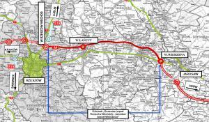 Autostrada A4 Rzeszów - Jarosław - mapa przebiegu