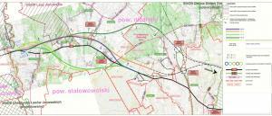 Mapa przebiegu wariantów drogi S19 Nisko - granica woj. lubuskiegi i podkarpackiego