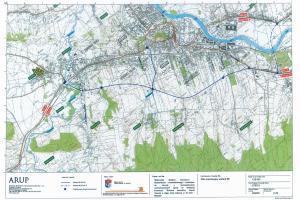 Mapa przebiegu obwodnicy Sanoka w ciągu DK28
