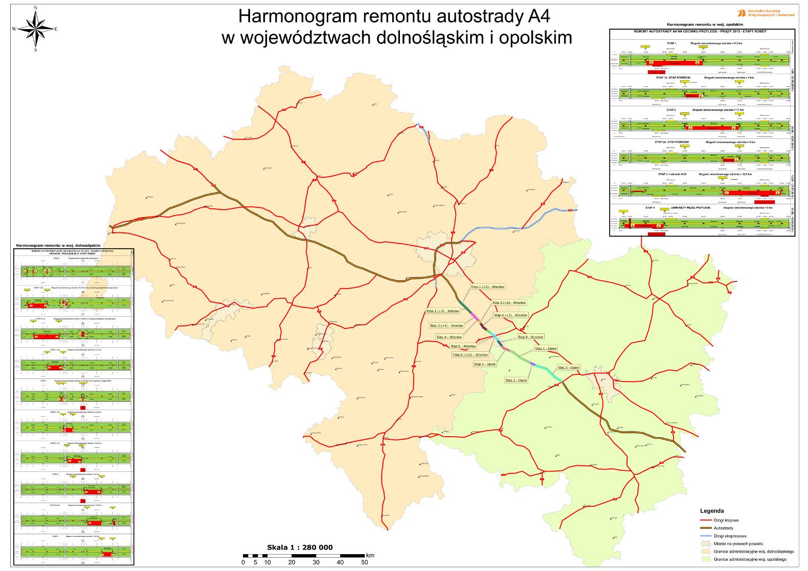 Mapa remontu i utrudnień na autostradzie A4 w woj. opolskim