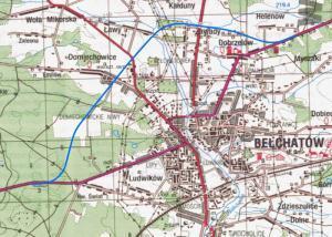 Mapa obwodnicy Bełchatowa