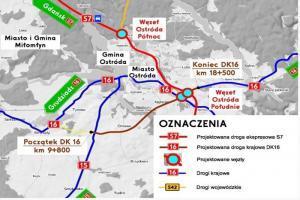 Mapa obwodnicy Ostródy w ciągu S7 i DK16