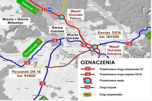 Mapa Obwodnicy Ostrody W Ciagu S7 I Dk16 Mapy I Plany Conadrogach Pl