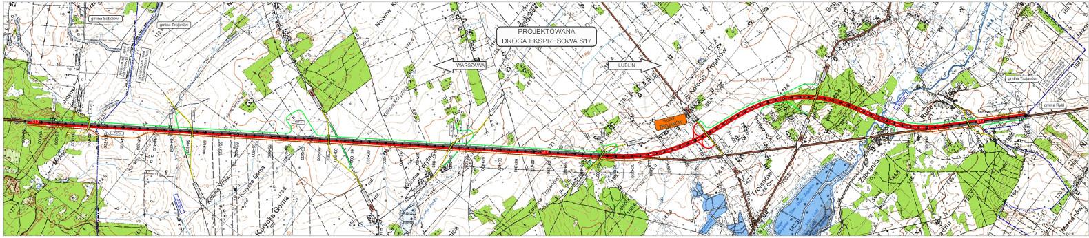 Mapa odcinka drogi S17 od Gończyc do granicy województw mazowieckiego i lubelskiego