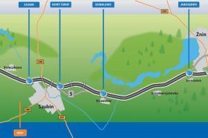 Droga ekspresowa S5 - mapa odcinka Szubin - Jaroszewo