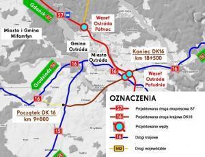 Budowa obwodnicy Ostródy w ciągu dróg S7 i DK16 - plan orientacyjny