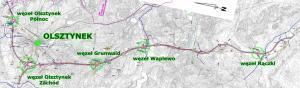 Mapa drogi ekspresowej S7 Olsztynek - Nidzica oraz obwodnicy Olsztynka w ciągu drogi S51