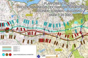 Mapa drogi ekspresowej S61 MOP Jasinowo - węzeł Sejny