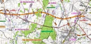 Mapa przebiegu drogi ekspresowej S7 - Obwodnica Mławy