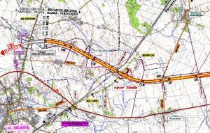 Mapa drogi ekspresowej S7 Mława - Modła