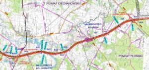 Mapa drogi ekspresowej S7 Glinojeck - Pieńki