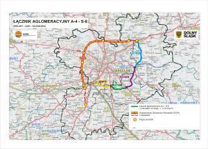 Wschodnia  Obwodnica Wrocławia - mapa przebiegu