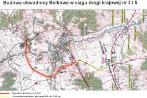 Mapa obwodnicy Bolkowa w ciągu DK3 i DK5