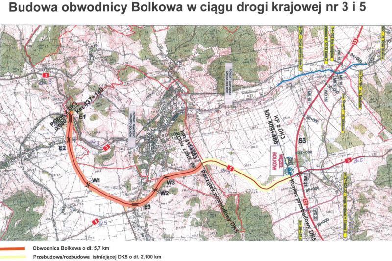 Mapa przebiegu obwodnicy Bolkowa w ciągu DK3 i Dk5