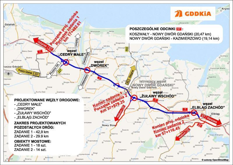 Mapa przebiegu drogi ekspresowej S7 Koszwały - Nowy Dwór Gdański - Elbląg