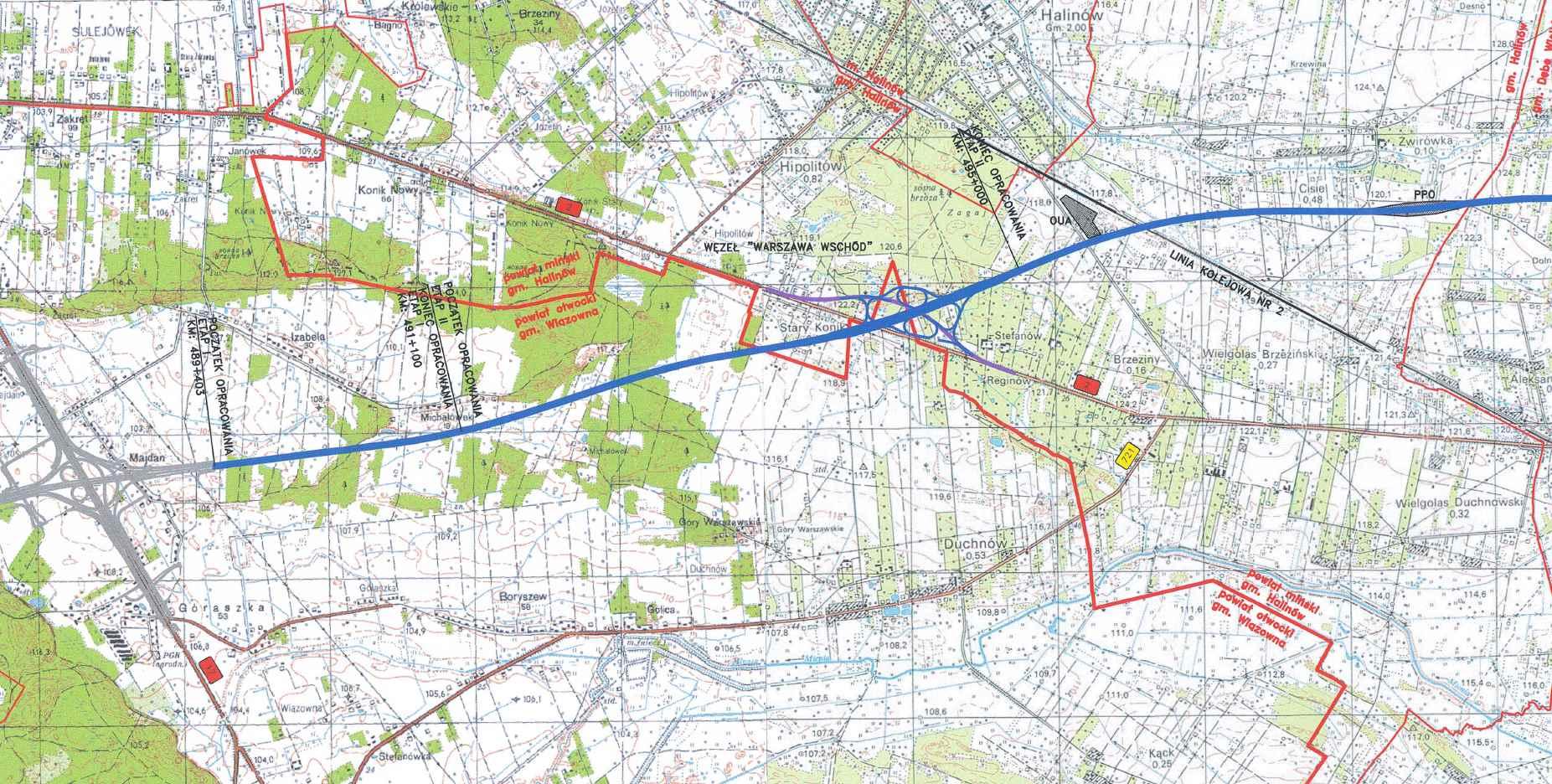 Mapa przebiegu autostrady A2 Warszawa - Mińsk Mazowiecki (odc. 1 w. Lubelska - w. Konik)