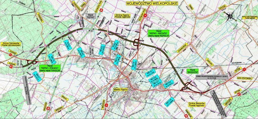 Mapa przebiegu obwodnicy Kępna w ciągu drogi ekspresowej S11