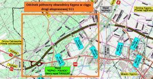 Obwodnica Kępna w ciągu drogi ekspresowej S11. Mapa I odcinka - północnego