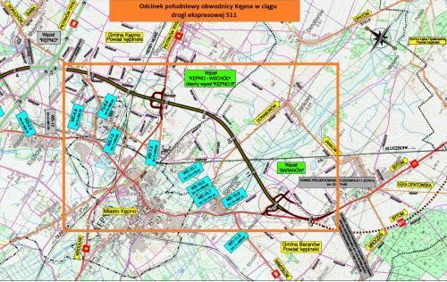 Obwodnica Kępna w ciągu drogi ekspresowej S11. Mapa II odcinka - południowego