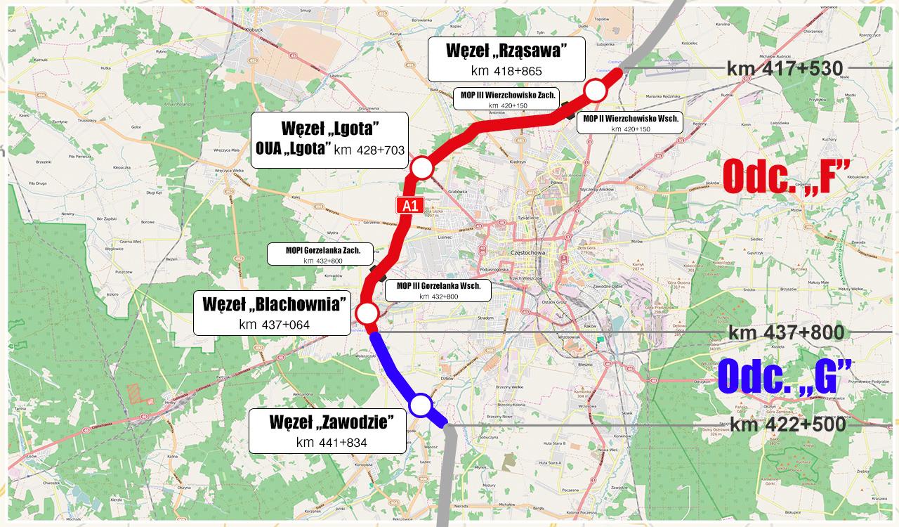Autostradowa obwodnica Częstochowy. Mapa A1 Rząsawa - Blachownia i Blachownia - Zawodzie