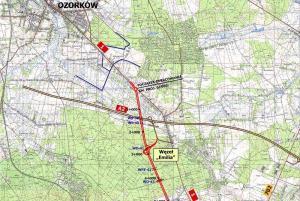 Mapa drogi ekspresowej S14, zachodnia obwodnica Łodzi: początek trasy - w. Emilia
