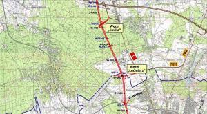 Droga ekspresowa S14, zachodnia obwodnica Łodzi. Mapa: w. Emilia - w. Lucimierz