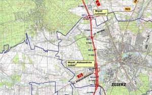 Droga ekspresowa S14, zachodnia obwodnica Łodzi. Mapa: w. Lucimierz - w. Aleksandrów Łódzki