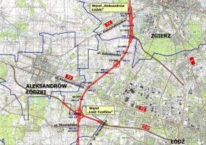 Mapa przebiegu drogi ekspresowej S14 - zachodniej obwodnicy Łodzi: w. Aleksadrów Łódzki - w. Łódź Teofilów