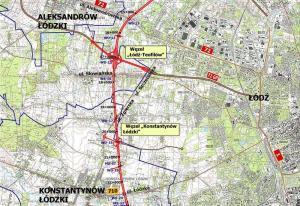 Droga ekspresowa S14, zachodnia obwodnica Łodzi. Mapa: w. Łódź Teofilów - w. Konstantynów Łódzki