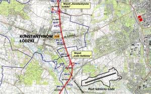 Mapa przebiegu zachodniej obwodnicy Łodzi w ciągu drogi ekspresowej S14: w. Konstantynów Łódzki - w. Łódź Retkinia