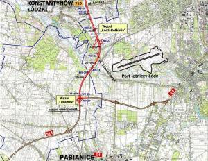Mapa przebiegu zachodniej obwodnicy Łodzi w ciągu drogi ekspresowej S14: w. Łódź Retkinia - w. Lublinek - Pabianice