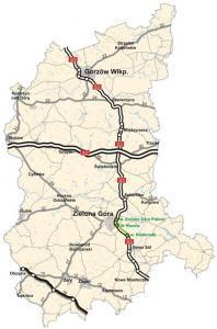 Dobudowa drugiej jezdni drogi ekspresowej S3. Mapa odcinka S3 Zielona Góra - Niedoradz