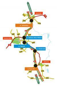 Mapa drogi ekspresowej S3 na odcinku Sulechów - Nowa Sól