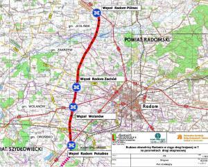 Mapa przebiegu drogi ekspresowej S7 na odcinku obwodnicy Radomia