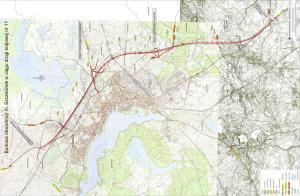 Mapa drogi ekspresowej S11 na odcinku obwodnicy Szczecinka