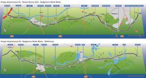 Mapa drogi ekspresowej S5 w województwie kujawsko-pomorskim
