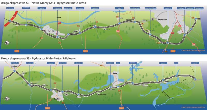 Mapa przebiegu drogi ekspresowej S5 w woj. kujawsko-pomorskim