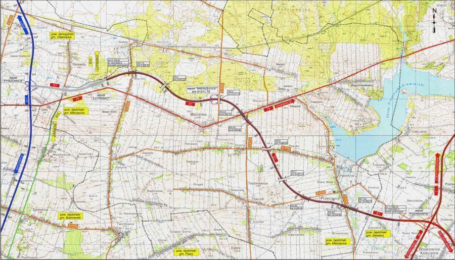 Mapa drogi ekspresowej S1 Pyrzowice - Podwarpie