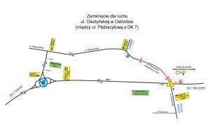 Zamknięcia na DK7 w Ostródzie