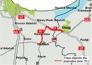 Będą objazdy w związku z przebudową wiaduktu na DK22 koło Elbląga