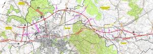 Mapa przebiegu obwodnicy Koszalina i Sianowa na drodze ekspresowej S6