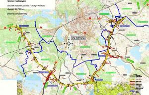 Obwodnica Olszyna w ciągu drogi ekspresowej S51 i krajowej nr 16 - mapa przebiegu