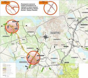 Mapa przebiegu południowej obwodnicy Olsztyna na odcinku DK16