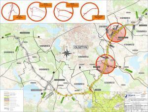 Mapa przebiegu południowej obwodnicy Olsztyna na odcinku drogi ekspresowej S51