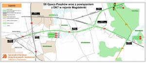 Droga ekspresowa S8 Opacz - Warszawa Janki - Paszków - mapa oddanego do ruchu odcinka