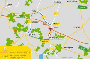 Utrudnienia na DW473 Uniejów-Dąbie – objazdy