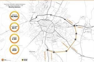 Mapa przebiegu obwodnicy Bolesławca w ciągu DW297