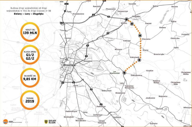 Wschodnia obwodnica Wrocławia - mapa północnego odcinka od DW455 do DK98