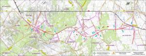 Mapa przebiegu obwodnicy Marek w ciągu drogi ekspresowej S8 Marki - Radzymin